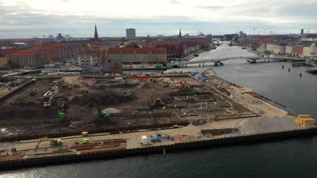copenhagen cityscape: construction - bridge built structure stock videos & royalty-free footage