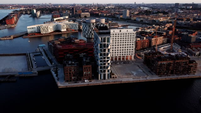 copenhagen cityscape: modern architecture at the sea - denmark stock videos & royalty-free footage