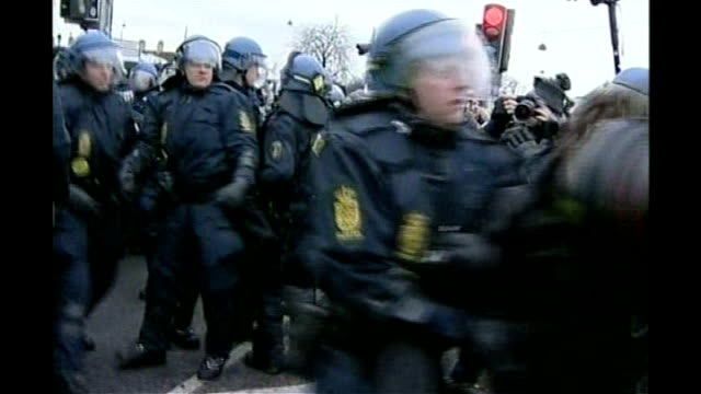 protests and arrests continue denmark copenhagen ext gvs of climate change demonstrators clashing with police pan gvs of police making arrests... - oresund region stock videos & royalty-free footage