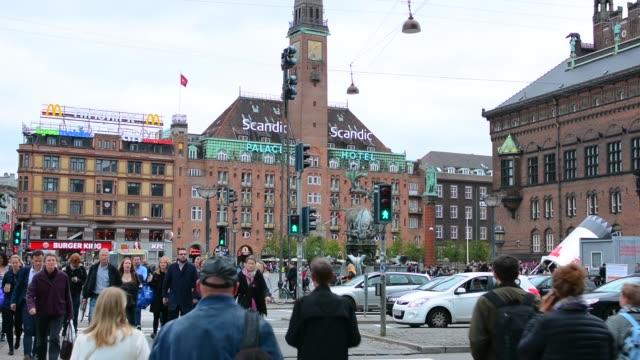 copenhagen denmark radhuspladsen and city hall palace hotel kobenhavn - copenhagen stock videos & royalty-free footage