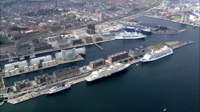 copenhagen - docks  - aerial view - capital region, copenhagen municipality, denmark - ferry stock videos & royalty-free footage