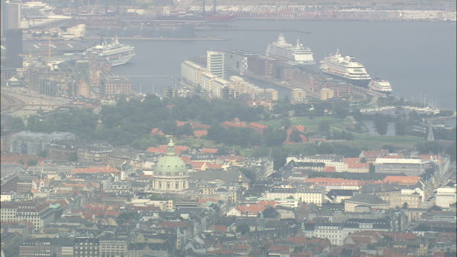 copenhagen - marble church  - aerial view - capital region, copenhagen municipality, denmark - capital region stock videos & royalty-free footage