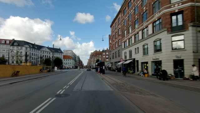 copenhagen nørrebro viii synced series front view driving process plate - car point of view stock videos & royalty-free footage