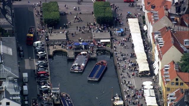 copenhagen - nyhavn  - aerial view - capital region, denmark - capital region stock videos & royalty-free footage