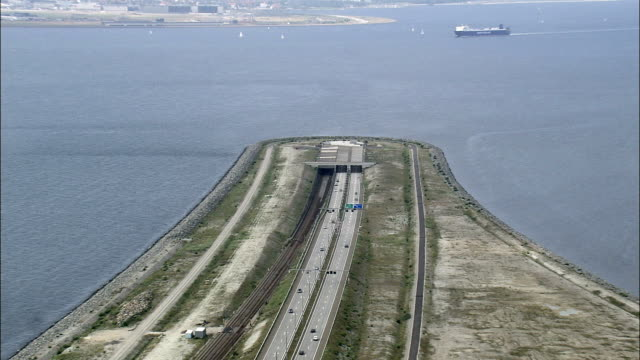 copenhagen - oresund bridge  - aerial view -, denmark - tunnel stock videos & royalty-free footage
