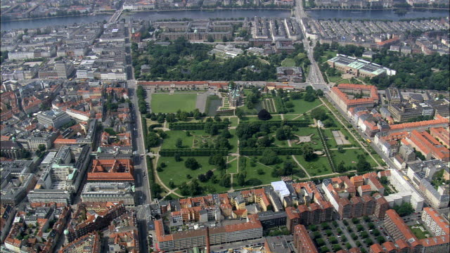 copenhagen - rosenborg slot  - aerial view - capital region, copenhagen municipality, denmark - capital region stock videos & royalty-free footage
