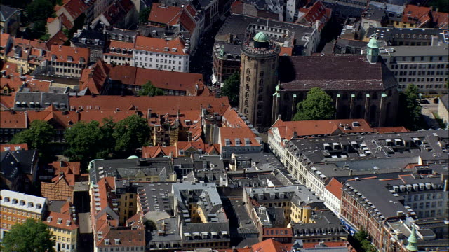 copenhagen - round tower  - aerial view - capital region, copenhagen municipality, denmark - copenhagen stock videos & royalty-free footage