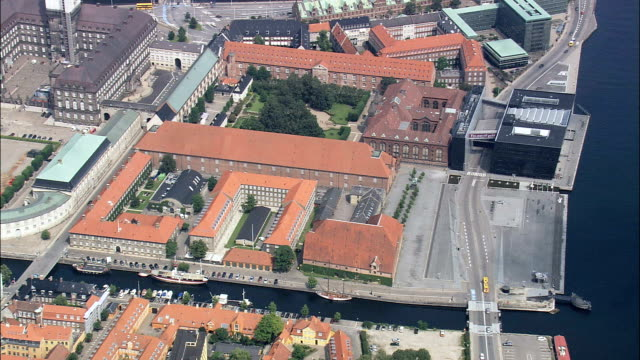 copenhagen - slotsholmen  - aerial view - capital region, denmark - capital region stock videos and b-roll footage