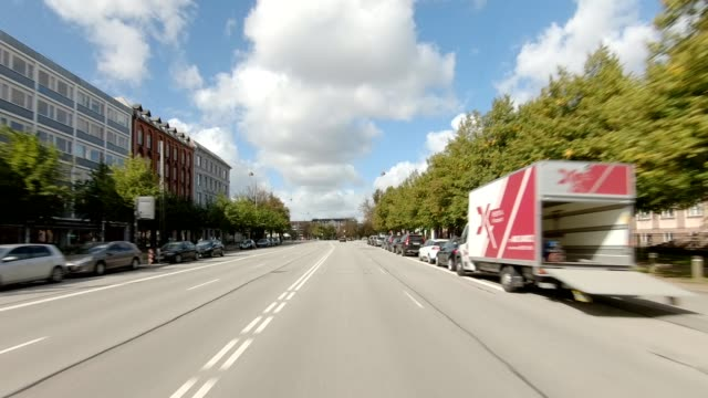 copenhagen østerbro xxv synced series front view driving process plate - car point of view stock videos & royalty-free footage