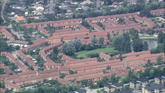 copenhagen suburbs - aerial view - capital region, ishøj kommune, denmark - capital region stock videos and b-roll footage