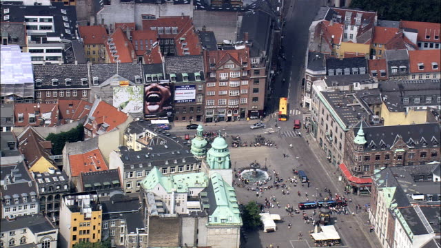copenhagen - the walking street  - aerial view - capital region, copenhagen municipality, denmark - capital region stock videos & royalty-free footage