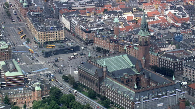 copenhagen - town hall square  - aerial view - capital region, copenhagen municipality, denmark - copenhagen stock videos and b-roll footage