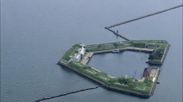 copenhagen - trekroner fort in harbour  - aerial view - capital region, denmark - capital region stock videos and b-roll footage