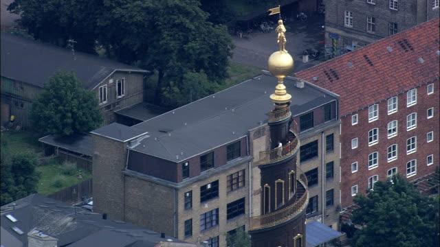 copenhagen - vor freslers kirke  - aerial view - capital region, copenhagen municipality, denmark - copenhagen stock videos & royalty-free footage