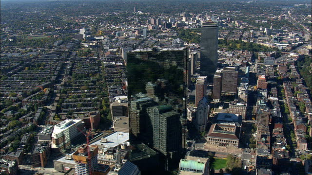 copley square district  - aerial view - massachusetts,  suffolk county,  united states - back bay boston stock videos & royalty-free footage