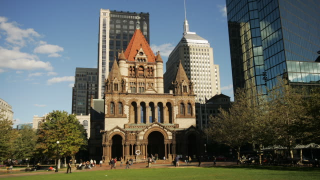 T/L WS PAN Copley Square with Trinity Church, Boston, Massachusetts, USA