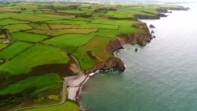 copper coast cliffs, ireland - coastline stock videos & royalty-free footage