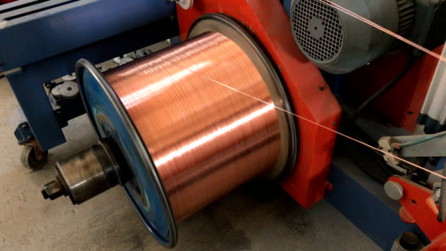 copper wire winding to spool - cable stock videos & royalty-free footage