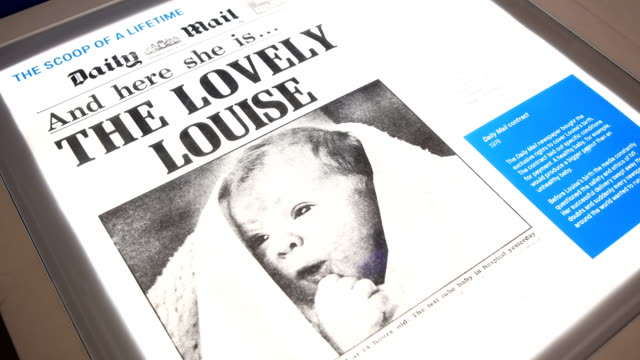 copy of the daily mail is seen at the science museum on july 23, 2018 in london, england. on 25th july 1978 louise brown became the first baby to be... - デイリーメール点の映像素材/bロール