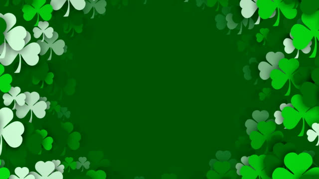 copy space, circles of shamrocks for st. patrick's day (loopable) - st. patrick's day stock videos & royalty-free footage
