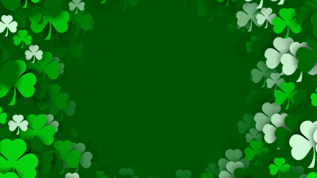 copy space, shamrocks zooming by, for saint patrick's day (loopable) - st. patrick's day stock videos & royalty-free footage