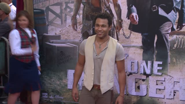 corbin bleu at the lone ranger los angeles premiere corbin bleu at the lone ranger los angeles premi at disney california adventure park on june 22... - the lone ranger 2013 film stock videos and b-roll footage