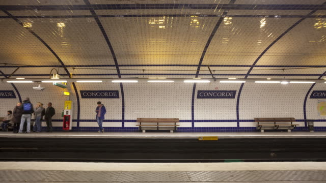 corcorde metro station in paris, france. - seat stock videos & royalty-free footage