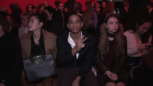 cordell broadus, shailene woodley, virginia gardner and more front row for the salvatore ferragamo ready to wear fall winter 2018 fashion show in... - salvatore ferragamo stock videos & royalty-free footage