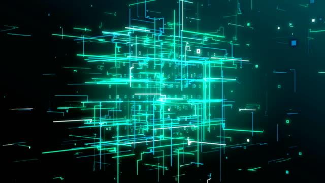 vidéos et rushes de core connection data cube fond boucle 4k - infini
