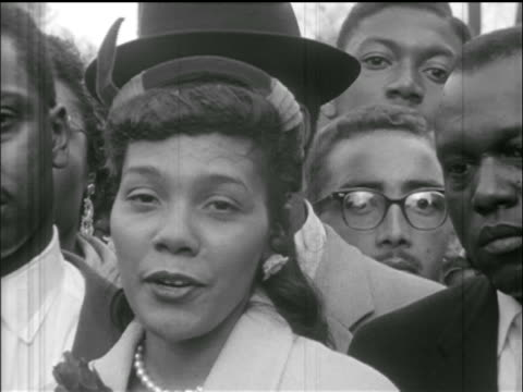 coretta scott king giving speech outside montgomery jail al - domination stock videos & royalty-free footage