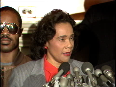 coretta scott king thanks members of congress involved in the legislative history and passage of the martin luther king day bill, discussing the... - orthographic symbol stock videos & royalty-free footage