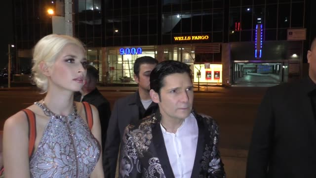 interview corey feldman courtney anne mitchell talk about his documentary premiere livestream being hacked outside rainbow room in west hollywood in... - celebrity sightings stock videos & royalty-free footage