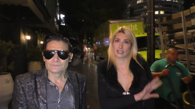 corey feldman & courtney anne mitchell talk about leonardo dicaprio & president of brazil's beef outside the pubg mobile's #fight4theamazon at avalon... - celebrity sightings stock-videos und b-roll-filmmaterial