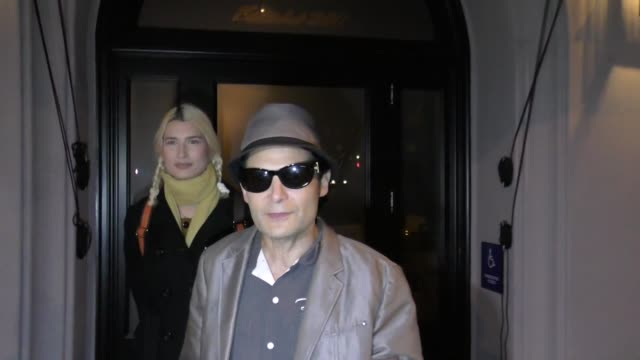 corey feldman & courtney anne mitchell talk about veganism & healthy eating outside craig's restaurant in west hollywood in celebrity sightings in... - arts culture and entertainment stock videos & royalty-free footage
