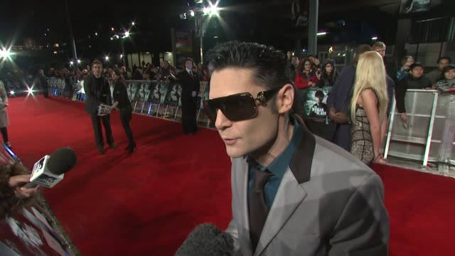 corey feldman on supporting daniel radcliffe, being able to identify with him as an actor at the woman in black world premiere at the royal festival... - royal festival hall stock videos & royalty-free footage
