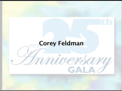 Corey Feldman on why he involved with PeTA at the PeTA's 25th Anniversary Gala And Humanitarian Awards Show at Paramount Studios in Hollywood...