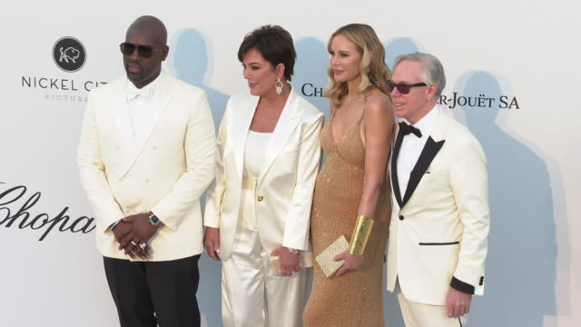 corey gamble kris jenner dee ocleppo and tommy hilfiger at the amfar cannes gala 2019 arrivals at hotel du capedenroc on may 23 2019 in cap d'antibes... - amfar stock videos & royalty-free footage
