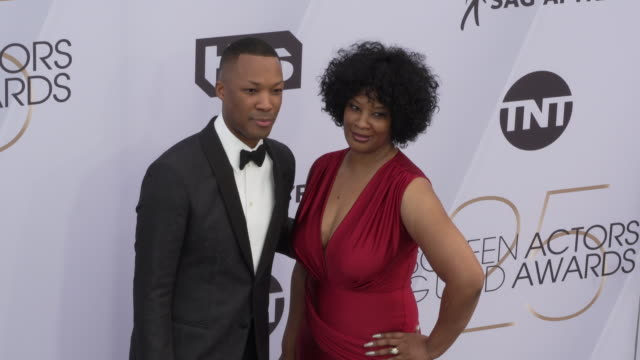 corey hawkins at 25th annual screen actors guild awards at the shrine auditorium on january 27 2019 in los angeles california - screen actors guild awards stock videos & royalty-free footage