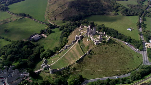 corfe castle  - aerial view - england, dorset, purbeck district, united kingdom - overhead projector stock videos & royalty-free footage