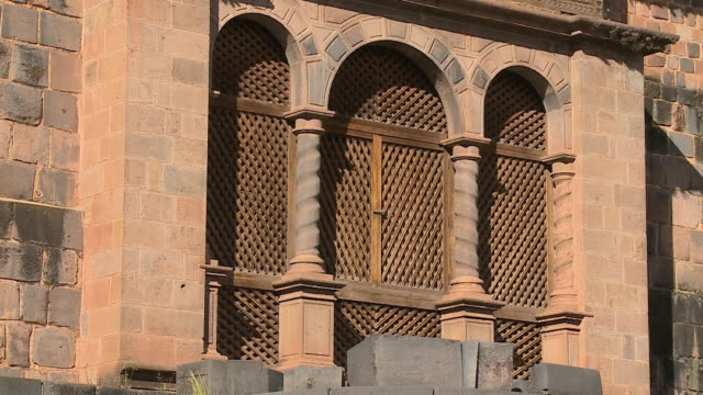 corincancha temple arch window, cusco, peru - convent stock videos & royalty-free footage