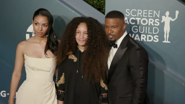 corinne foxx, annalise bishop and jamie foxx at the shrine auditorium on january 19, 2020 in los angeles, california. - screen actors guild stock videos & royalty-free footage