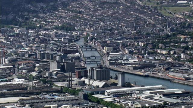 cork  - aerial view - munster,  cork city,  helicopter filming,  aerial video,  cineflex,  establishing shot,  ireland - county cork stock videos & royalty-free footage