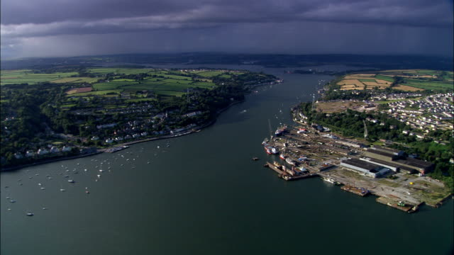 cork harbour  - aerial view - munster, cork, ireland - county cork stock videos & royalty-free footage