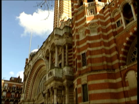 cormac murphy o'connor child abuse row; itn london: westminster: westminster cathedral tilt down cms mosaic of jesus christ over entrance pull out - westminster cathedral stock videos & royalty-free footage