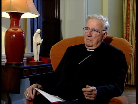 cormac murphy o'connor raises abortion as election issue; england: london: int cardinal cormac murphy o'connor interviewed sot - i didn't endorse... - fundamentalism stock videos & royalty-free footage