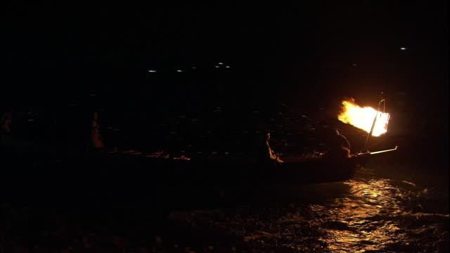 stockvideo's en b-roll-footage met cormorant fishing boats sailing down nagara river. - aalscholvers