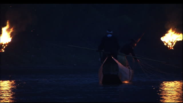 stockvideo's en b-roll-footage met cormorant fishing boats sailing out into the river. - aalscholvers