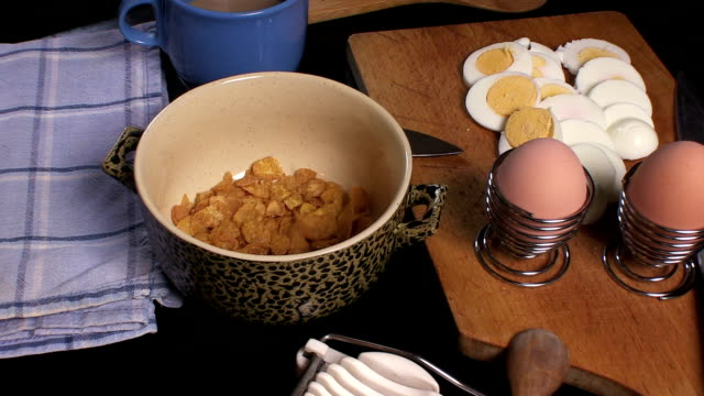 corn flakes - hard boiled egg stock videos & royalty-free footage