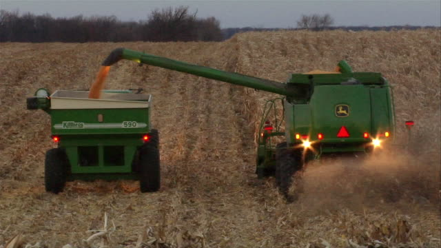 ws corn harvester in field shooting corn into grain cart being pulled by tractor/ manchester, michigan - grain cart stock videos & royalty-free footage