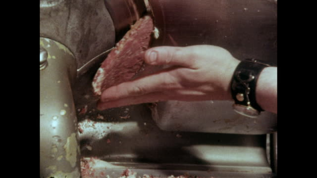 corned beef being sliced on a meat slicer; 1973 - food stock videos & royalty-free footage